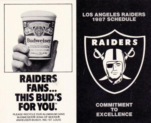 UNFOLDED 1987 LOS ANGELES RAIDERS FOOTBALL POCKET SCHEDULE
