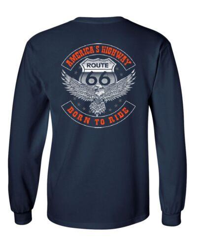 America/'s Highway Long Sleeve T-Shirt Born to Ride Route 66 Biker MC Chopper Tee