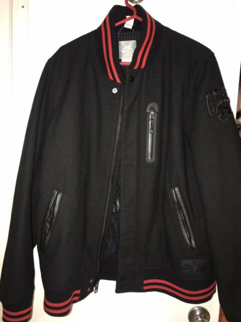 MENs NIKE LEBRON DESTROYER Varsity JACKET Large L Black Red 443931 010