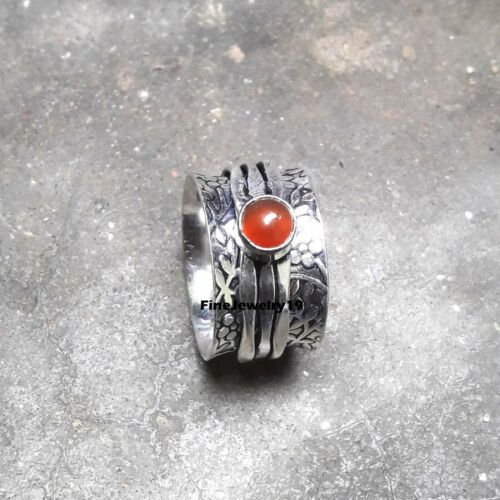 Details about  /Red Onyx Ring 925 Sterling Silver Spinner Meditation Statement Jewelry A438