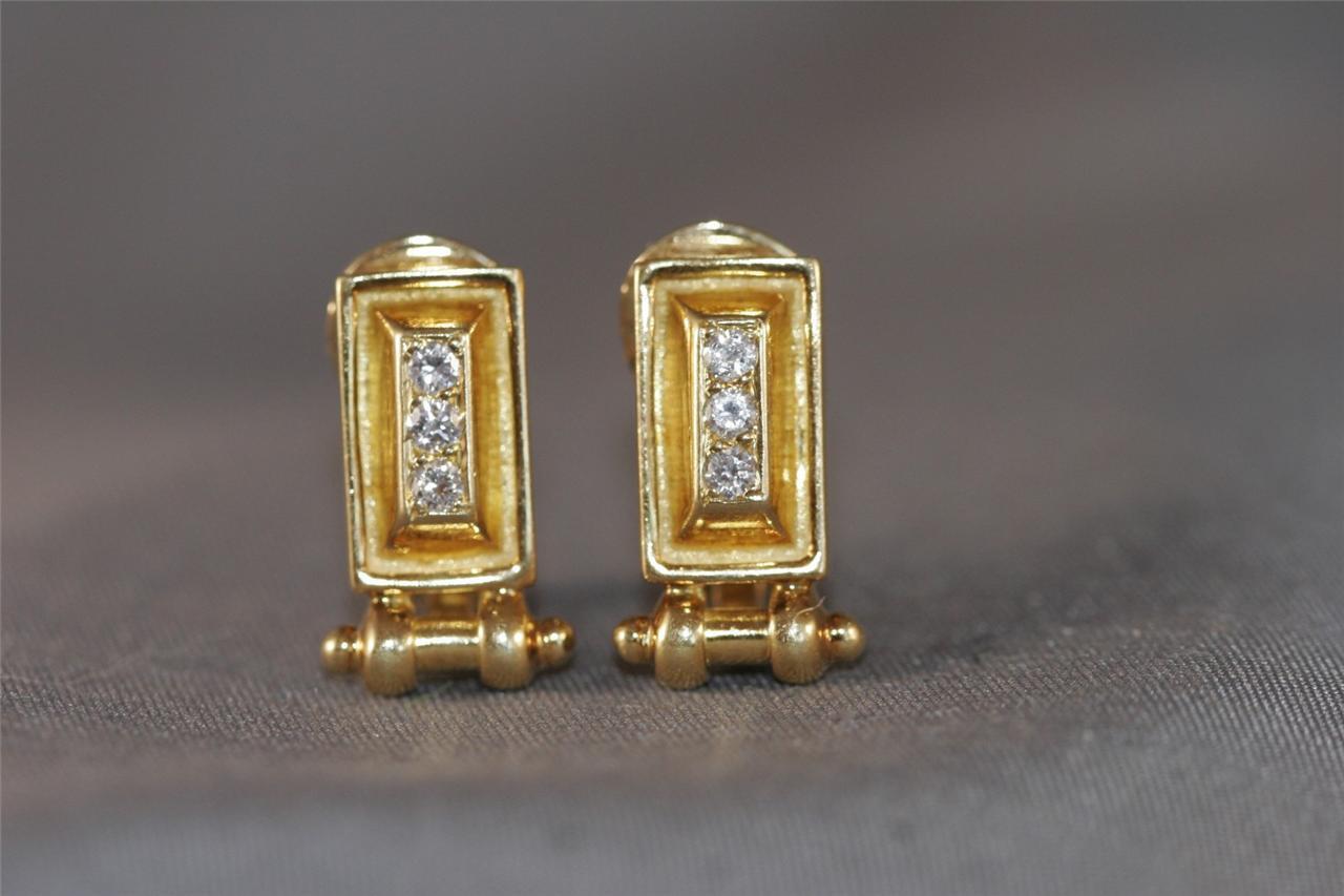 491dd0d17c221 DESIGNER GREEK PATROS Y MARAMENOS HEAVY 0.30CT 18K EARRINGS DIAMOND ...