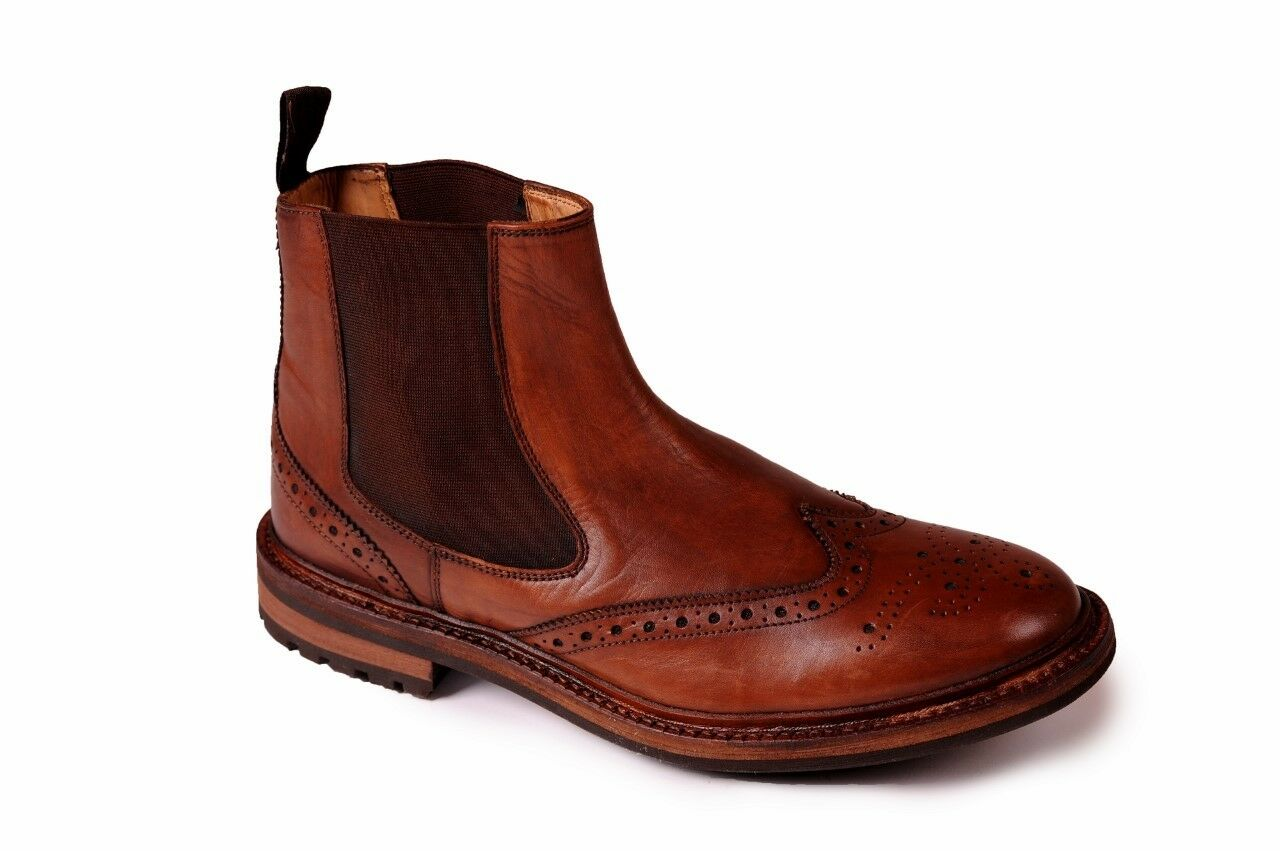 Mens Woodland Leather Brogue Gusset Dealer Boot Goodyear Welted Commando Sole