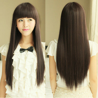 Fashion Style Womens Girls Long Straight Wigs Cosplay Party Full Hair Wig New