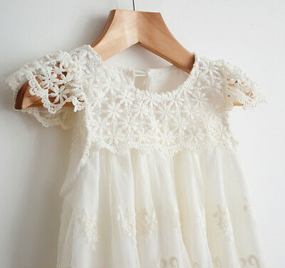 Flower girl dress Vintage Off-White party lace dress Toddler dress  1-12 Years