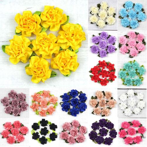 NEW 50PCS DIY Satin Ribbon peony Flower 3 cm Craft //Wedding Appliques Decoration