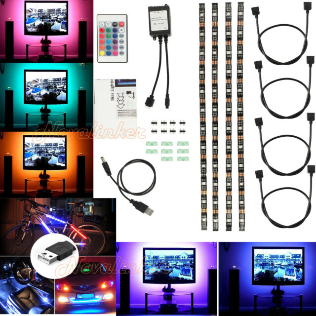 4pcs Colour Changing 5050 LED Strip Light USB RGB TV Back With Wireless Remote