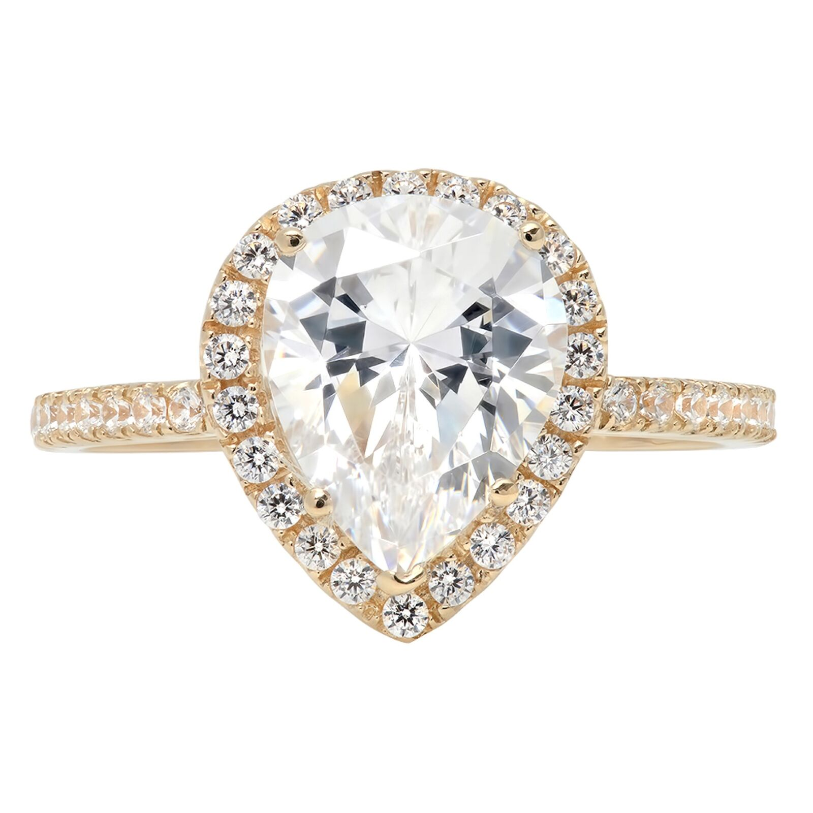 2.45ct Pear Cut Halo Wedding Anniversary Engagement Bridal Ring 14k Yellow gold