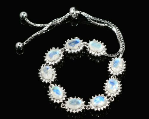 Details about  /7x5 mm Oval Cut Natural Rainbow Moonstone Gemstone 925 Sterling Silver Bracelet