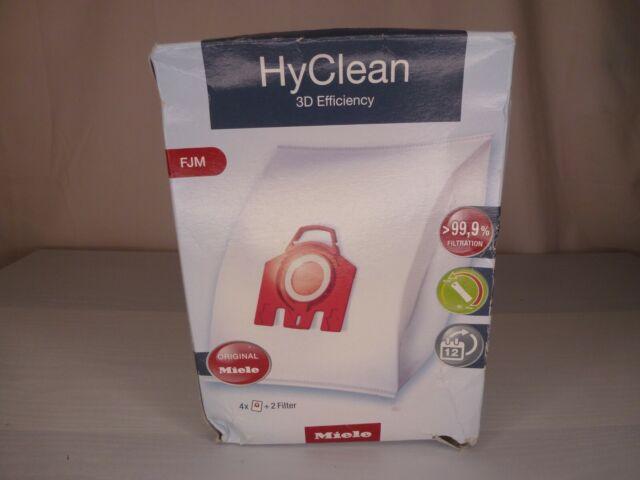 Genuine Miele FJM HyClean Vacuum Bags -- 4 Bags + 2 Filters -- Heavy Box Damage