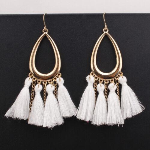 1 Paire Femmes Mode Bohémien Longue Tassel Frange Boho Crochet Boucle d/'oreille