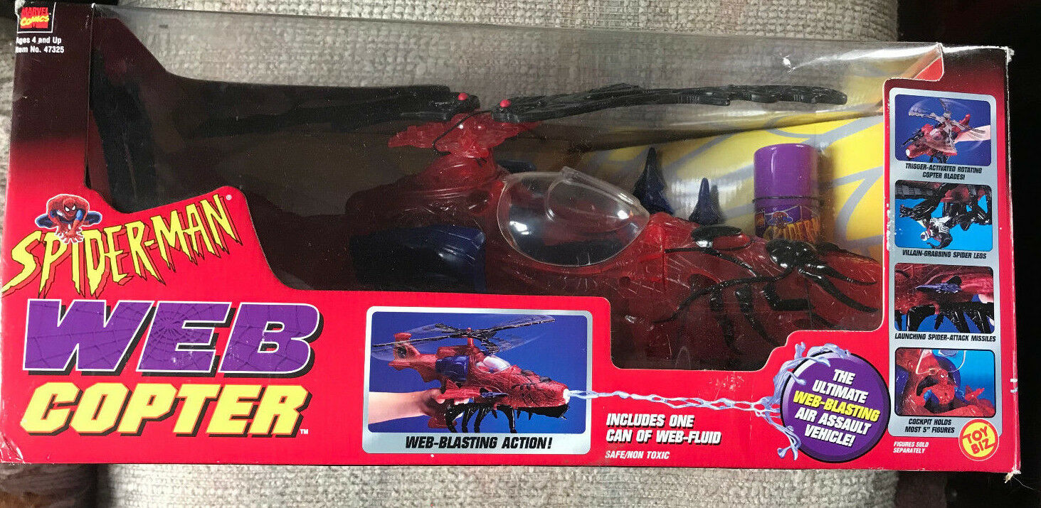 VINTAGE SPIDER-MAN WEB COPTER WITH WEB FLUID CAN NEW IN BOX TOY BIZ 1998