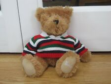 "HARRODS 9"" SITTING TEDDY BEAR PLUSH SOFT TOY COMFORTER IN KNITTED JUMPER"