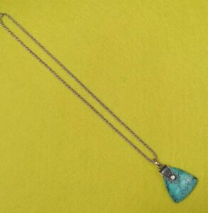 Heavy Vintage 70s Statement Turquoise Pendant 925 Sterling Silver Necklace 26.7g