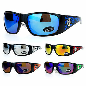 NEW MOTORCYCLE BIKER Day RIDING CHOPPERS Padded SUN GLASSES GOGGLES Green Flames