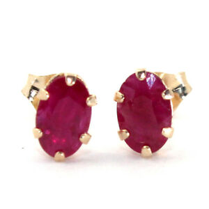 NICE-NATURAL-RUBY-0-80ct-STAMPED-10K-SOLID-YELLOW-GOLD-STUDS-EARRINGS
