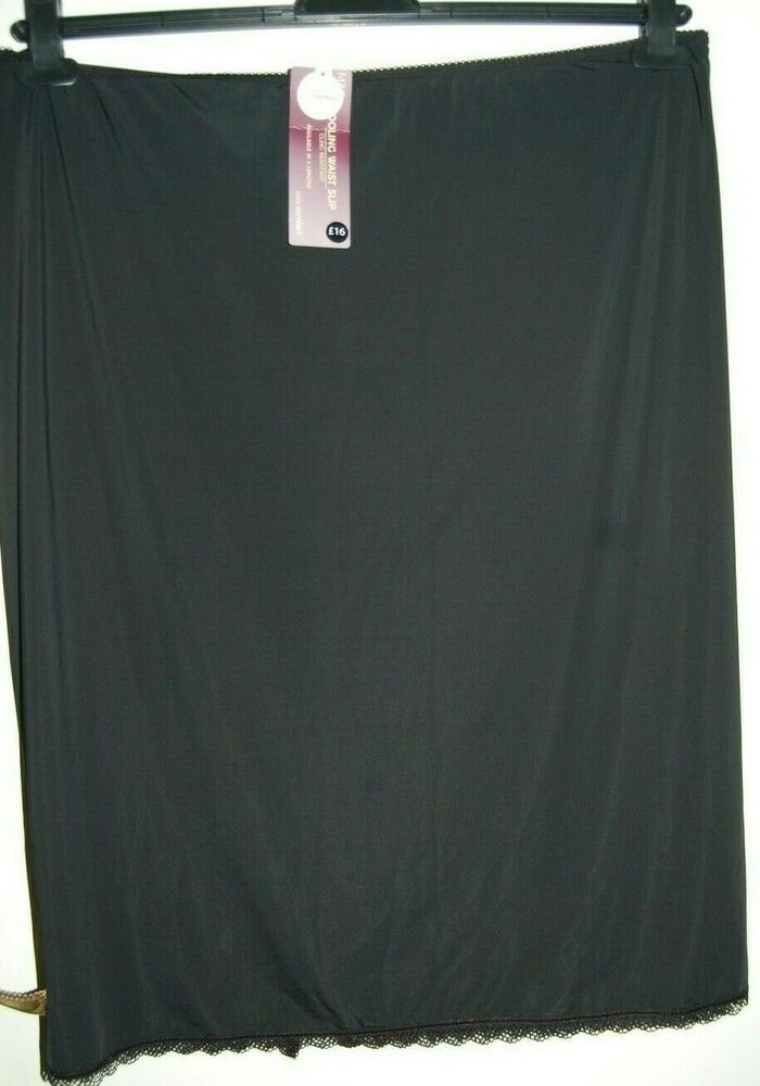 M&s Cool Confort Adhérence Résistant à La Taille Slip Noir Uk 28 Eur 56 Longueur 26 Bnwt