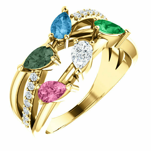 Cluster Pear Shaped Stones Family Ring 10K or 14K Solid gold 1 to 6 Birthstones