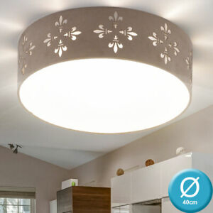 Luxus Decken Leuchte Wohn Ess Zimmer Beleuchtung Textil Schirm rund Dielen Lampe