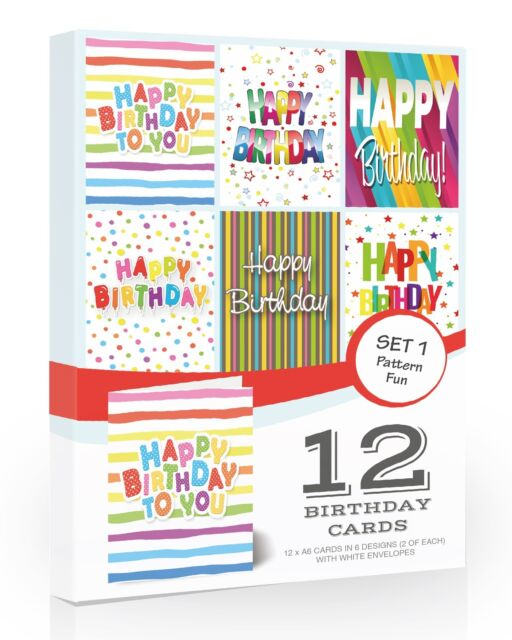 12 X Multipack Birthday Cards Mixed Value Pack By Olivia Samuel With Envelopes