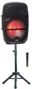 "QFX PBX-811SM 8"" PORTABLE PARTY SPEAKER WIRELESS MICROPHONE and STAND"