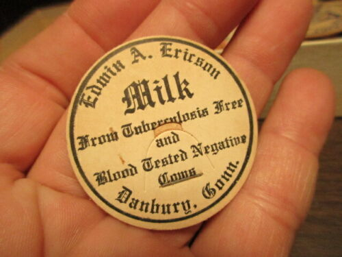 CONN. ERICSON DANBURY EDWIN E Milk Bottle Cap Dairy Advertising