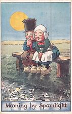 POSTCARD  COMIC CHILDREN  DUTCH KIDS  Mooning by Spoonlight   SHEPHEARD     Tuck