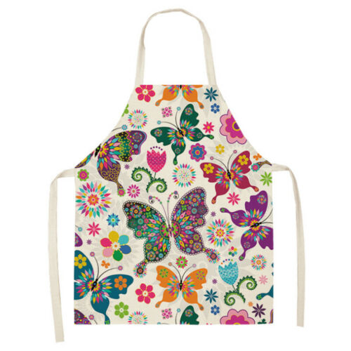 Cute Butterfly Printed Apron Cotton Linen Kitchen Cooking Women Cleaning Aprons