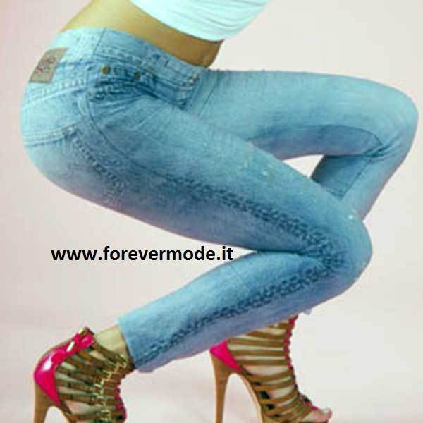 Leggings woman Bugie effect jeans microfiber printed with rips art BU5032