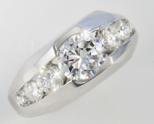 1.5 ct Men's Ring 2.5 ct tw Top Vintage CZ Imitation Moissanite Simulant SS S12