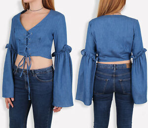 UK-Womens-Bell-Sleeve-Lace-Up-Eyelet-Frill-Crop-Top-Full-Sleeve-Blouse-6-14