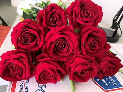 10//pck Single RED VELVET ROSES