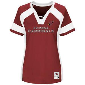 7cba55e55a53 Details about NEW MAJESTIC NFL Team Apparel ARIZONA CARDINALS V-Neck Jersey  Shirt Womens NWT