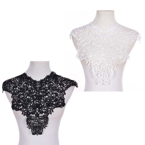 Embroidery Big Flowers Lace Neckline Fabric DIY Collar Sewing Supplies Craft YJ