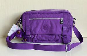 NEW-KIPLING-GRACY-PURPLE-FEATHER-CROSSBODY-SLING-SHOULDER-BAG-PURSE-104-SALE