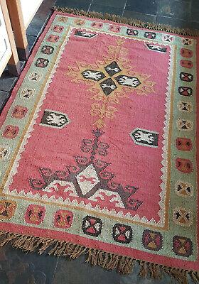 100/% Wool Kilim Ochre Rust Grey 120x180cm Quality Hand Made Reversible rug