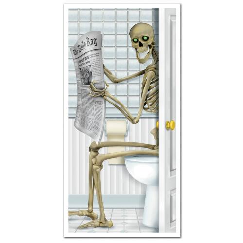 HALLOWEEN Haunted House Party Prop SKELETON BATHROOM Restroom Wall DOOR COVER