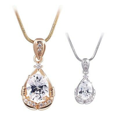 18K White/Yellow Gold Filled White Sapphire Chain Necklace Pendant
