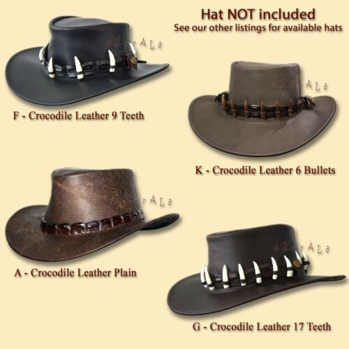 【oZtrALa】CROCODILE Leather HAT BAND Mens AUSTRALIAN Outback DUNDEE Cowboy Aussie