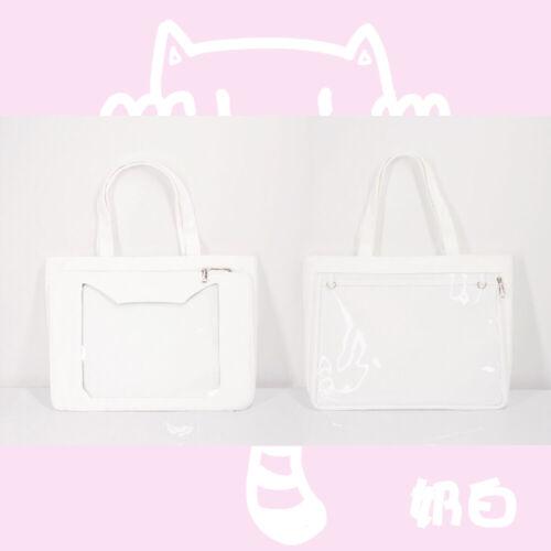 Japanese Lolita Cat Head Shape Transparent Itabag Canvas Shoulder Bag Handback