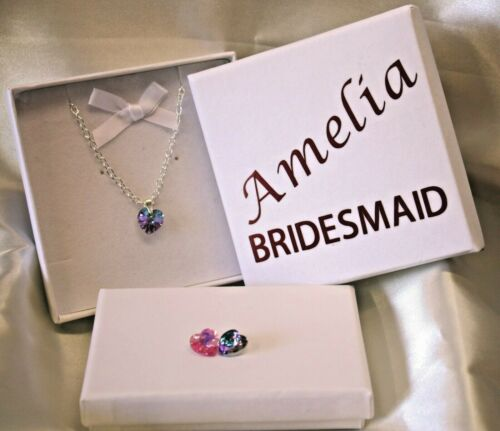 Birthday. Necklace in Personalised Gift Box for Bridesmaid Flower Girl