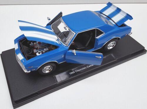Spedizione LAMPO CHEVROLET CAMARO z28 1968 Blu Blue Welly Modello Auto 1:18 NUOVO OVP