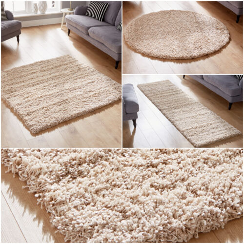 CHAMPAGNE SMALL TO LARGE  SHAGGY RUG RUNNERS THICK 5CM PILE WAREHOUSE CLEARANCE
