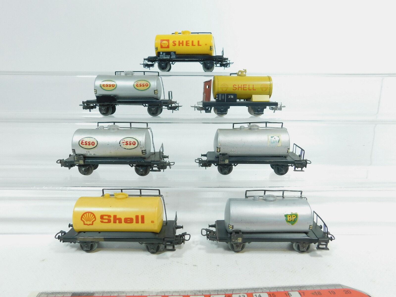 Az341-1  7x   h0/ac hobbisti-Caldaia Carrello/carro merci DB: Shell + esso + BP