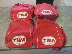 Vintage Original TWA Airline Carry On Tote Vinyl Red Shoulder Bag Set of 4