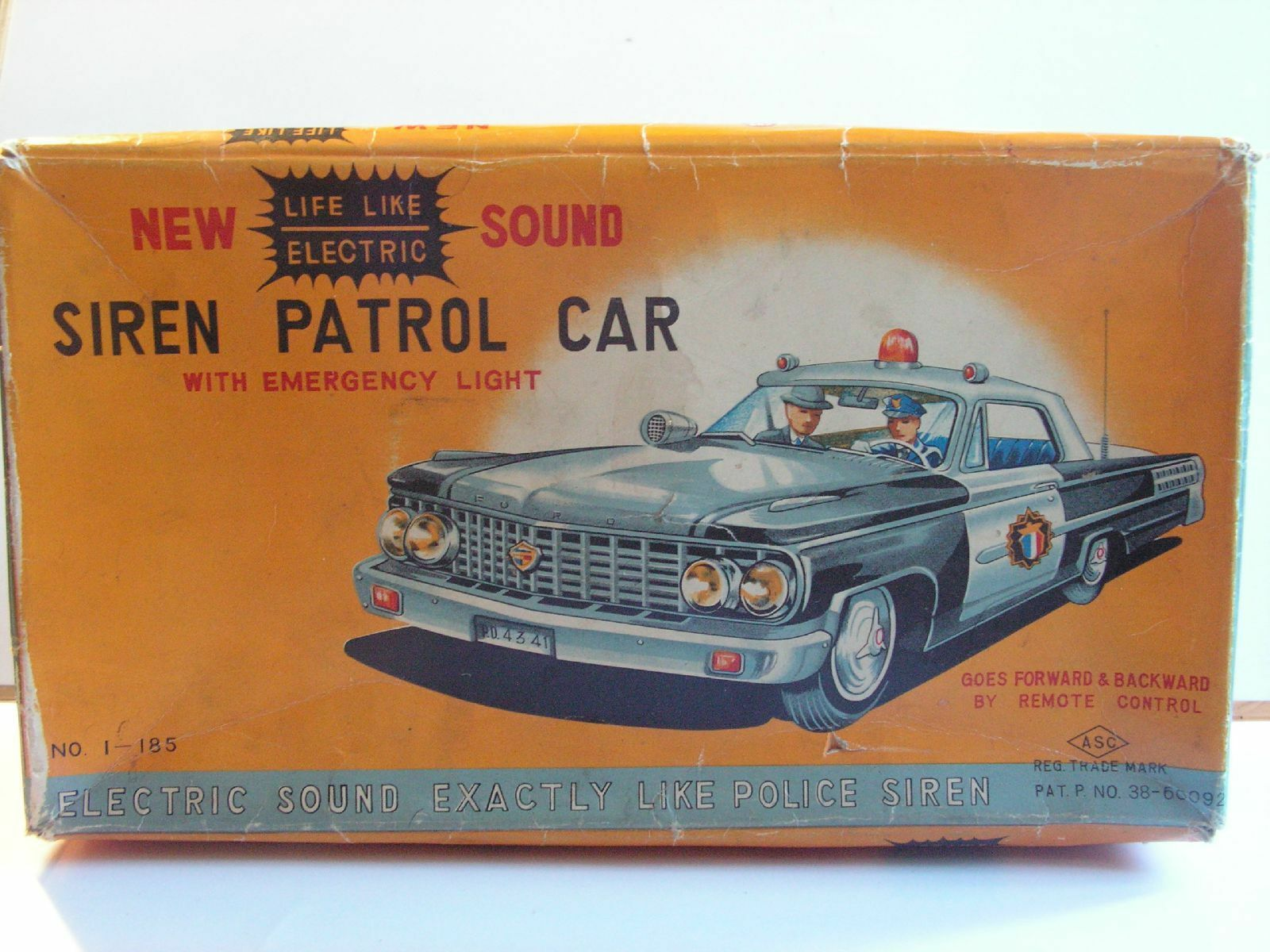 ASC japan TIN TOY  FORD GALAXIE HIGHWAY PATROL SIREN PATROL CAR JOUET TOLE 50 60