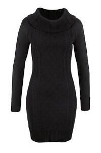 Strickkleid-Kleid-weiter-Rollkragen-Carmen-Ausschnitt-schwarz-Melrose-Gr-38