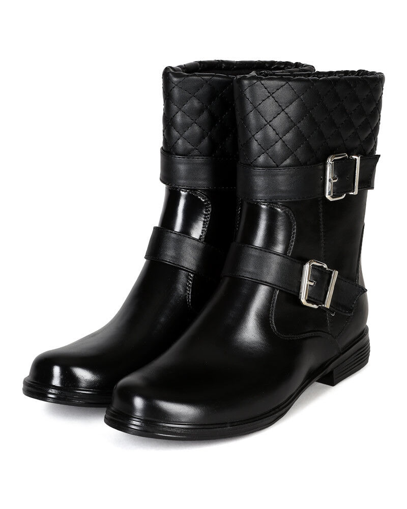 Bumper Bristol-03 New Women Mix Media Quilted Strap Riding Boot Bootie