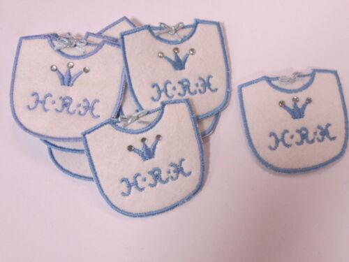 Set De 10 Bordado nuevo bebé niño babero h.r.h tarjeta haciendo motivos Parches # 2a74