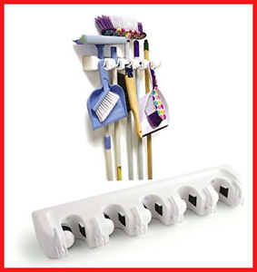 Brush-Broom-and-Mop-Holder-Tool-Hanger-5-Position-and-6-Hooks-Wall-Rack