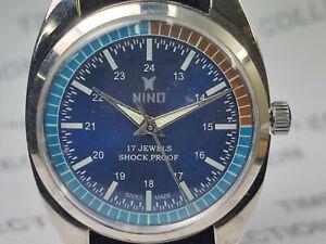 Vintage-Nino-Mechanical-Handwinding-Movement-Analog-Dial-Mens-Wrist-Watch-OG175